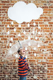 Little Child under White Cardboard Raindrops Stock Photography