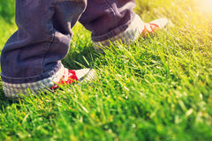 Little child walking in beautiful spring day. Baby boy feet in red shoes outdoors in the garden Royalty Free Stock Image
