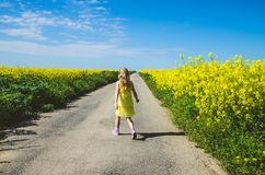 Little child walking in rural path in beautiful summer nature royalty free stock photos
