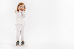 Little child in white clothes Stock Images