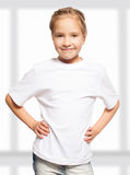Little child in white t-shirt Royalty Free Stock Photography