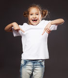 Little child in white t-shirt Stock Images