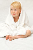 Little child in white towel Stock Photo