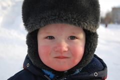 A little child in winter Stock Photo