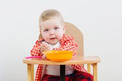 Free Little Child With Plate And Spoon On Background White Wall Royalty Free Stock Photos - 160514078