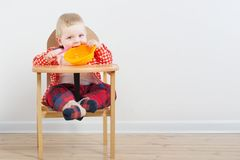 Free Little Child With Plate And Spoon On Background White Wall Stock Photos - 160514103