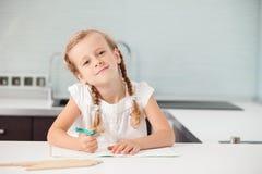 Little child writing stock image