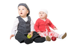 Little Children. Small children play. Isolated. White background Stock Photos