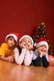 Little Children As Santa In Red Cap Royalty Free Stock Images