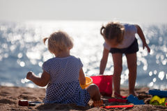 Little children  on beach Stock Photography