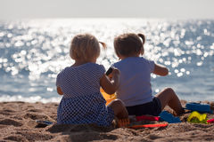 Little children  on beach Royalty Free Stock Photography