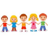 Little children cartoon holding hands Stock Photo