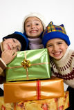 Little children with christmas gifts Royalty Free Stock Photo