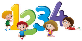 Little children counting number one to four stock illustration