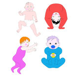 Little children of different ages and in different poses. Newborns and older children play or sleep Stock Photos