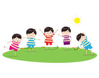 Little children doing morning exercises Stock Image