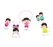 Little children doing skipping against white. Little Children happy playing illuttration royalty free illustration