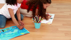 Little children drawing together in class stock footage