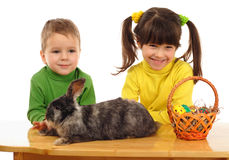Little children with easter rabbit Royalty Free Stock Images
