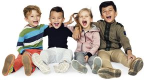 Little Children Friends Smiling Together royalty free stock photo
