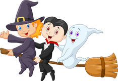 Little children and ghost fly with broom Royalty Free Stock Images