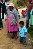 Little children and grandmother. A grandma and his niece in a rural site in mexico, country people away the cities Stock Images