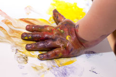 Little Children Hands doing Fingerpainting Royalty Free Stock Images