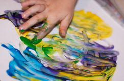 Little Children Hands doing Fingerpainting Royalty Free Stock Photos