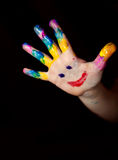 Little Children Hands doing Fingerpainting stock photos