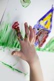 Little Children Hands doing Fingerpainting royalty free stock photography