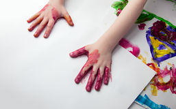 Little Children Hands doing Fingerpainting Stock Photo