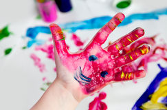 Little Children Hands doing Fingerpainting Stock Photography