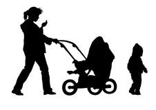 Little children and moms Stock Images