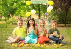 Little children with natural lemonade Stock Photography