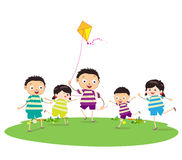 Little children outdoors kites. Little Children happy playing illuttration Stock Photography