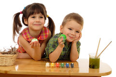 Little children with painted easter eggs Royalty Free Stock Images