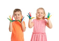Little children with painted hands. On white background stock images