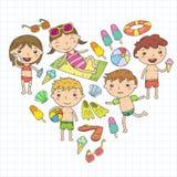 Little children play. Summer camp, beach, vacation. Kindergarten and preschool kids. Play, learn, grow together. Beach. Little children play Summer camp vector illustration