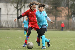 Little children playing football or soccer Royalty Free Stock Photography