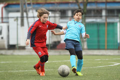Little children playing football or soccer Royalty Free Stock Photos