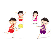 Little children playing volleyball. Little Children happy playing illuttration vector illustration