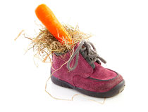 Little children's shoe with carrot Royalty Free Stock Images
