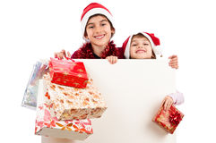Little children Santa Claus whiteboard Royalty Free Stock Photos