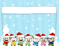 Little children with santa hat. And blank banner  on white background Stock Photography