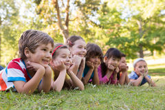 Little children smiling in a row Stock Photography