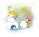 Little children and snowman. Illustration of little children with their friend snowman Royalty Free Stock Photography