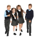 Little children in stylish school uniform. On white background royalty free stock photography