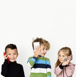 Little Children Talking On Phone Technology royalty free stock photography