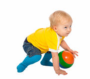 Little children  with a  toy ball  isolated on a white backgroun Stock Photography