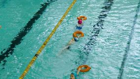 Little children training in swimming pool stock footage